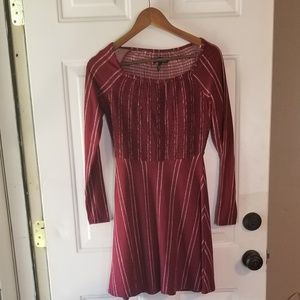Crimson long sleeve dress with white stripes